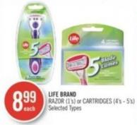 Life Brand Razor (1's) or Cartridges (4's - 5's)