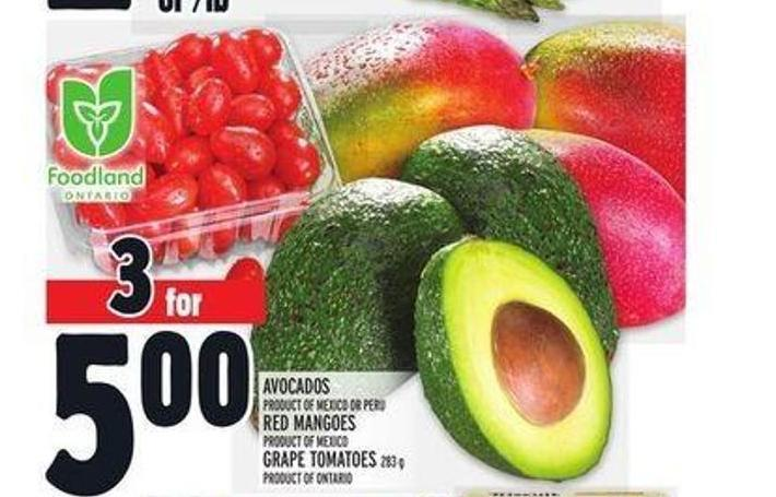 Avocados Product Of Mexico Or Peru Red Mangoes Product Of Mexico Grape Tomatoes 283 g Product Of Ontario