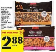 Irresistibles Whole Natural Almonds - Chocolate Covered Almonds Or Walnut Halves And Pieces Or Pitted Prunes