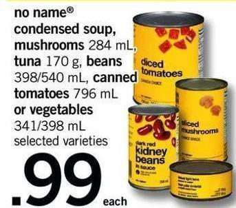 No Name Condensed Soup - Mushrooms 284 Ml - Tuna 170 G - Beans 398/540 Ml - Canned Tomatoes 796 Ml Or Vegetables 341/398 Ml