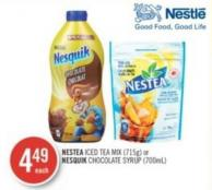 Nestea Iced Tea Mix (715g) or Nesquik Chocolate Syrup (700ml)