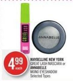 Maybelline New York  Great Lash Mascara or Annabelle  Mono Eyeshadow