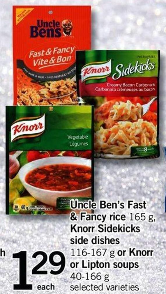 Uncle Ben's Fast & Fancy Rice - 165 G - 500 Knorr Sidekicks Side Dishes - 116-167 G Or Knorr Or Lipton Soups - 40-166 G