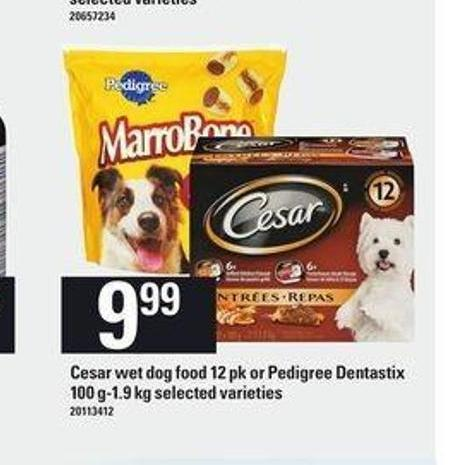 Cesar Wet Dog Food - 12 Pk or Pedigree Dentastix - 100 G-1.9 Kg