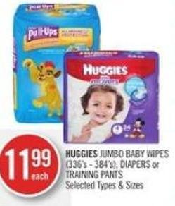 Huggies  Jumbo Baby Wipes (336's - 384's) - Diapers or Training Pants