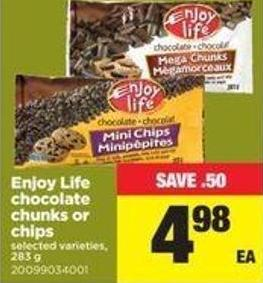 Enjoy Life Chocolate Chunks Or Chips - 283 g