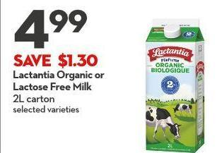 Lactantia Organic or  Lactose Free Milk 2l Carton
