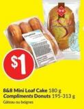 8&8 Mini Loaf Cake 180 g Compliments Donuts 195-313 g