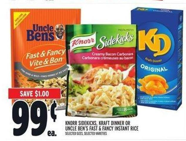 Knorr Sidekicks - Kraft Dinner or Uncle Ben's Fast & Fancy Instant Rice