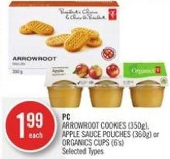 PC Arrowroot Cookies (350g) - Apple Sauce Pouches (360g) or Organics Cups (6's)