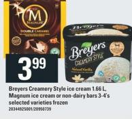 Breyers Creamery Style Ice Cream 1.66 L - Magnum Ice Cream Or Non-dairy Bars 3-4's