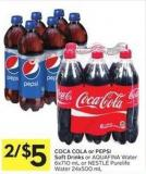 Coca Cola or Pepsi Soft Drinks or Aquafina Water 6x710 mL or Nestlé Purelife Water 24x500 mL