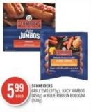 Schneiders Grill'ems (375g) - Juicy Jumbos (450g) or Blue Ribbon Bologna (500g)