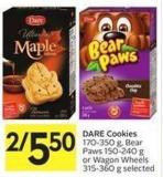 Dare Cookies 170-350 g - Bear Paws 150-240 g or Wagon Wheels 315-360 g Selected