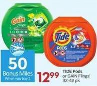 Tide Pods or Gain Flings! 32-42 Pk - 50 Air Miles