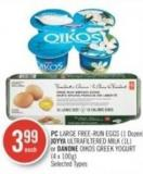 PC Large Free-run Eggs (1 Dozen) - Joyya Ultrafiltered Milk (1l) or Danone Oikos Greek Yogurt (4 X 100g)