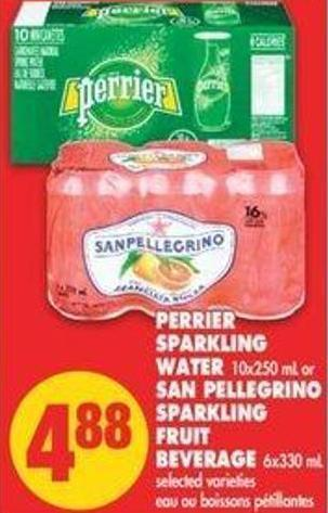Perrier Sparkling Water - 10x250 Ml Or San Pellegrino Sparkling Fruit Beverage - 6x330 Ml