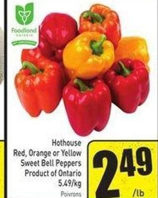 Hothouse Red - Orange or Yellow Sweet Bell Peppers Product of Ontario 5.49/kg