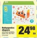Babyganics Diapers - Sizes 3-6 - 50-78's