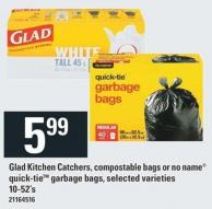 Glad Kitchen Catchers - Compostable Bags Or No Name Quick-tietm Garbage Bags - 10-52's