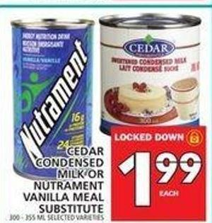 Cedar Condensed Milk Or Nutrament Vanilla Meal Substitute