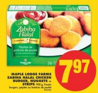 Maple Lodge Farms Zabiha Halal Chicken Burger - Nuggets or Strips 908 g