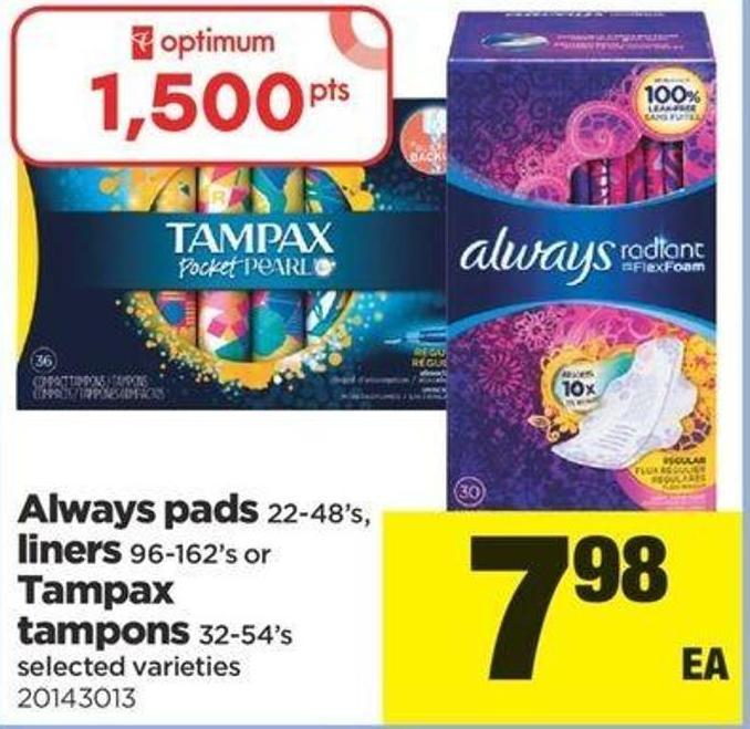 Always Pads 22-48's - Liners 96-162's Or Tampax Tampons 32-54's