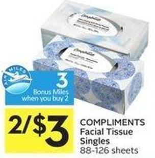 Compliments Facial Tissue Singles 88-126 Sheets - 3 Air Miles Bonus Miles