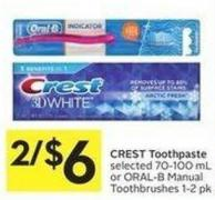 Crest Toothpaste Selected 70-100 mL or Oral-b Manual Toothbrushes 1-2 Pk