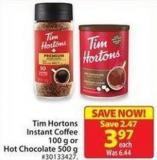 Tim Hortons Instant Coffee 100 g or Hot Chocolate 500 g