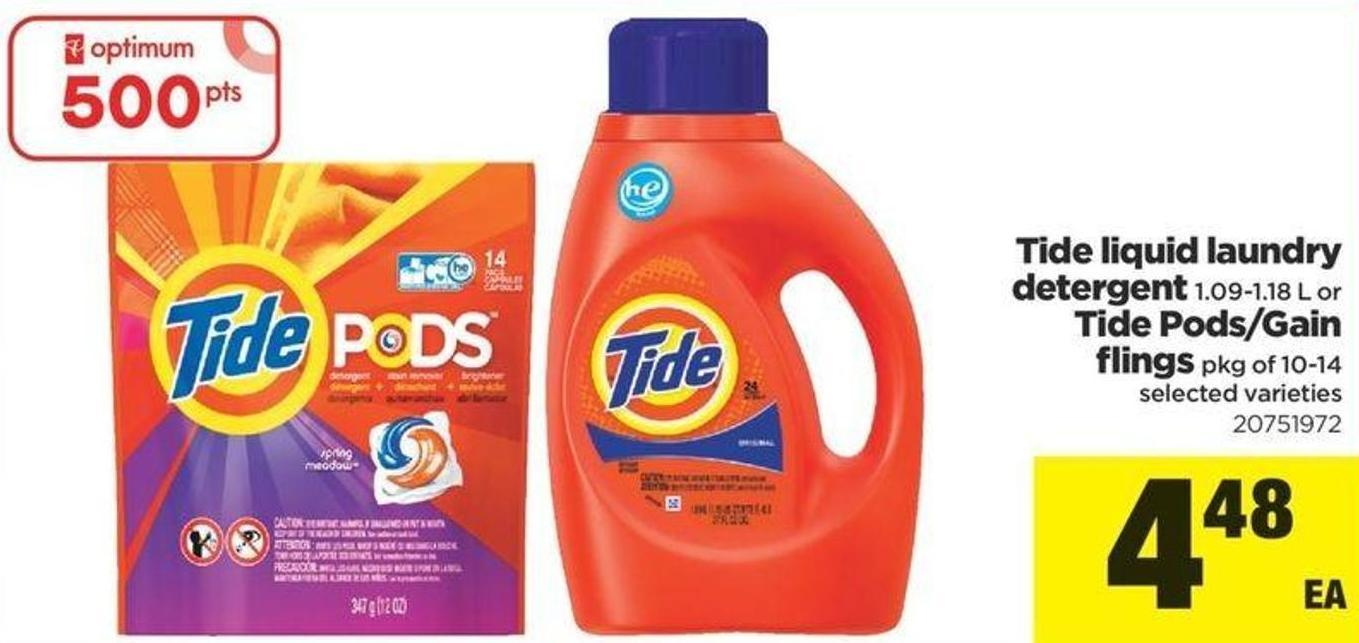 Tide Liquid Laundry Detergent - 1.09-1.18 L Or Tide Pods/gain Flings - Pkg Of 10-14