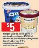 Haäagen-dazs Ice Cream - Gelato Or Non-dairy Frozen Dessert 475-500 Ml - Novelties 3's - Nestlé Confectionery Frozen Dessert 1.5 L Or Bars 4-10's