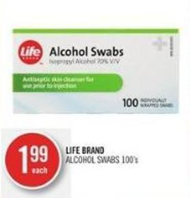 LIFE BRAND ALCOHOL SWABS 100's