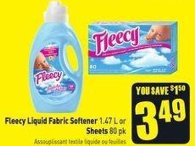 Fleecy Liquid Fabric Softener 1.47 L or Sheets 80 Pk