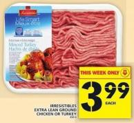 Irresistibles Extra Lean Ground Chicken Or Turkey 450 G