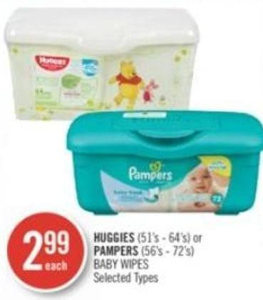 Huggies (51's - 64's) or Pampers (56's - 72's) Baby Wipes