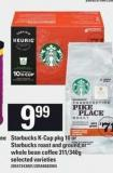 Starbucks K-cup Pkg 10 Or Starbucks Roast And Ground Or Whole Bean Coffee 311/340g