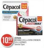 Cepacol Instamax (24's) or Extra Strength (36's) Lozenges