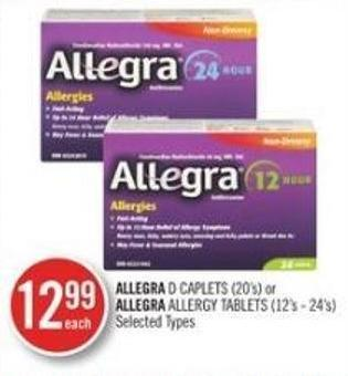 Allegra D Caplets (20s) or Allegra Allergy Tablets (12's - 24's)