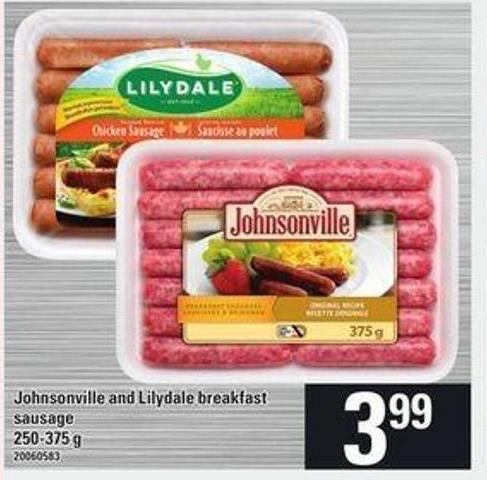 Johnsonville And Lilydale Breakfast Sausage - 250-375 G