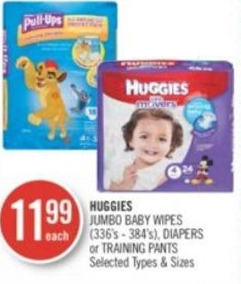 Huggies Jumbo Baby Wipes - Diapers or Training Pants (336's - 384's)