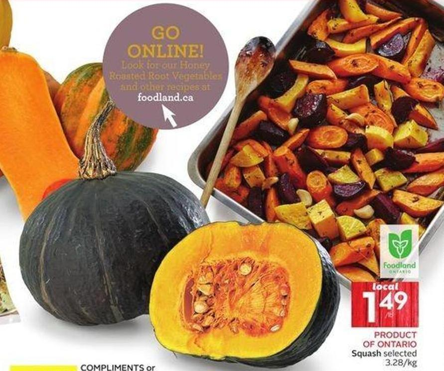Product Of Ontario Squash Selected 3.28/kg