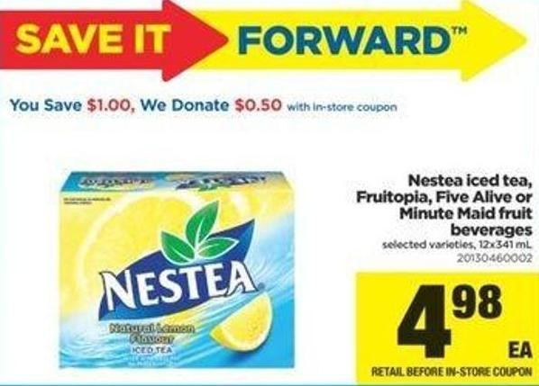 Nestea Iced Tea - Fruitopia - Five Alive Or Minute Maid Fruit Beverages - 12x341 Ml
