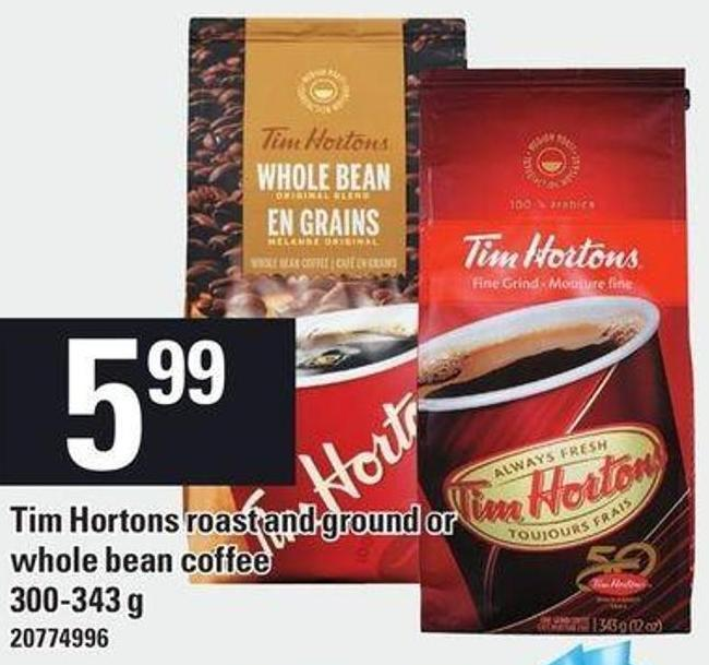 Tim Hortons Roast And Ground Or Whole Bean Coffee - 300-343 G