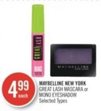 Maybelline New York Great Lash Mascara or Mono Eyeshadow