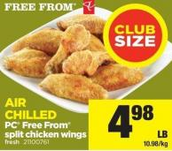 PC Free From Split Chicken Wings