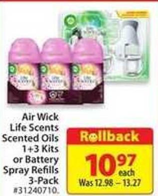 Air Wick Life Scents Scented Oils 1-3 Kits or Battery Spray Refills 3-pack
