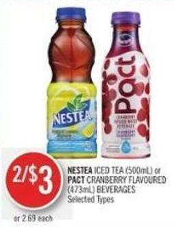 Nestea Iced Tea (500ml) or Pact Cranberry Flavoured (473ml) Beverages
