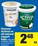 Danone Activia Or All Natural Yogurt Tubs - 650 g