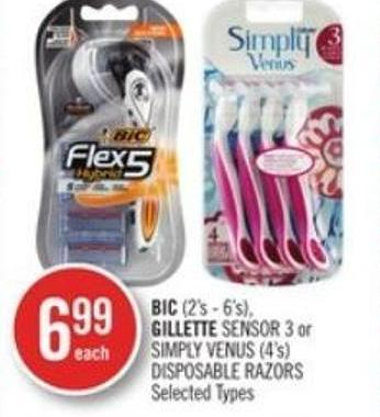 Bic (2's - 6's) - Gillette Sensor 3 or Simply Venus (4's) Disposable Razors